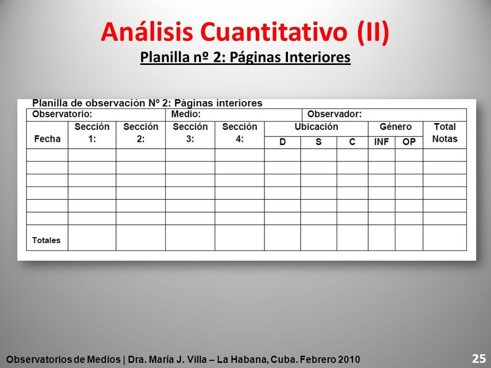 Análisis Cuantitativo (II) Planilla nº 2: Páginas Interiores