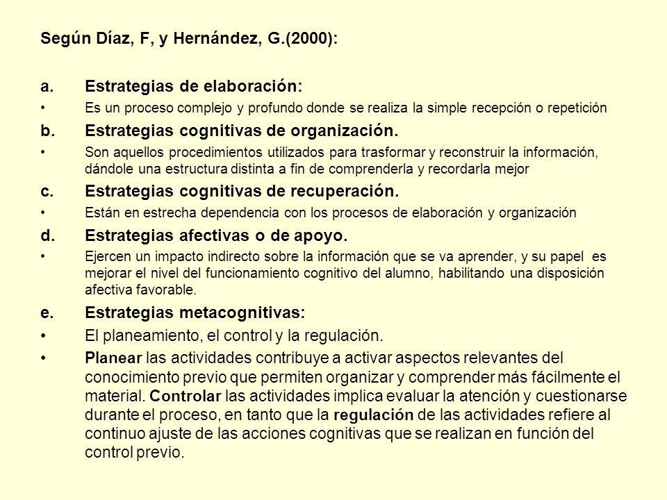 Según Díaz, F, y Hernández, G.(2000): Estrategias de elaboración: