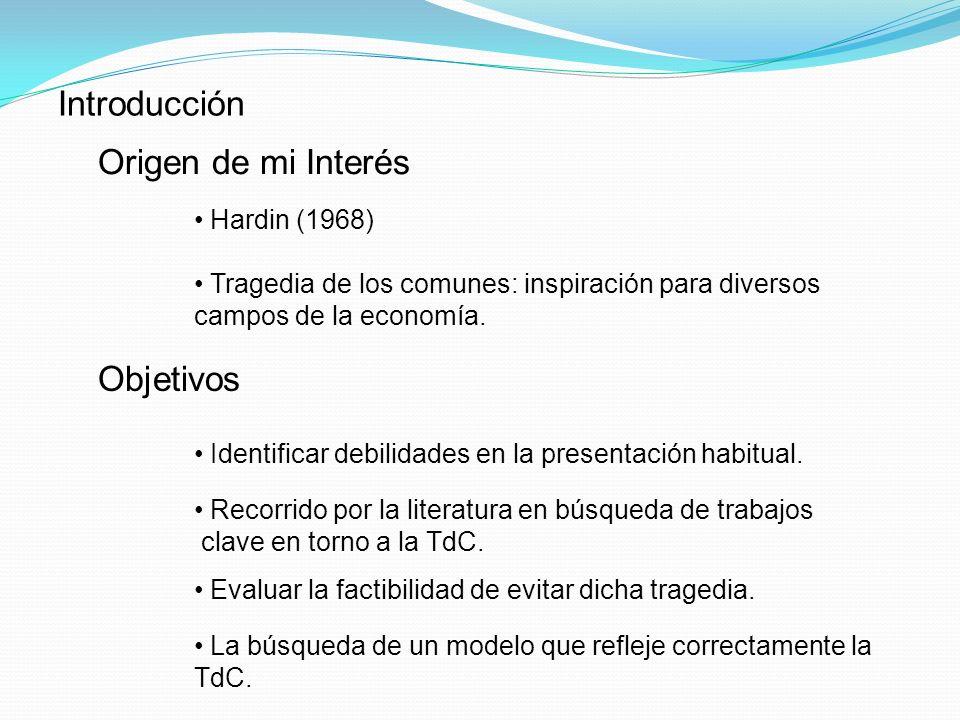 Introducción Origen de mi Interés Objetivos Hardin (1968)