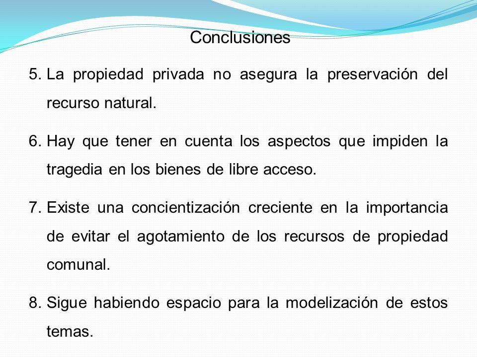 Conclusiones La propiedad privada no asegura la preservación del recurso natural.