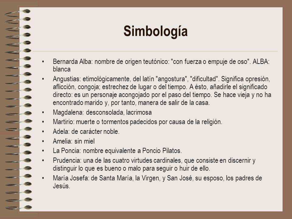 SimbologíaBernarda Alba: nombre de origen teutónico: con fuerza o empuje de oso . ALBA: blanca.