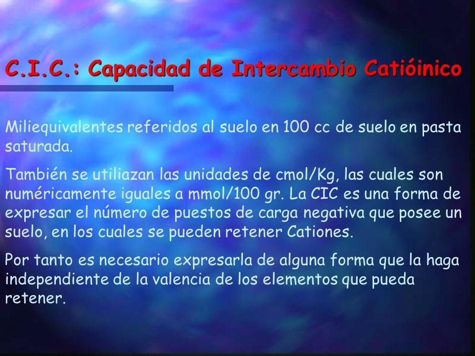 C.I.C.: Capacidad de Intercambio Catióinico
