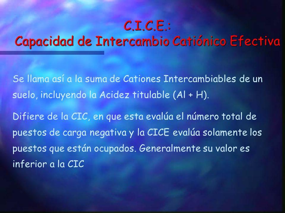 C.I.C.E.: Capacidad de Intercambio Catiónico Efectiva