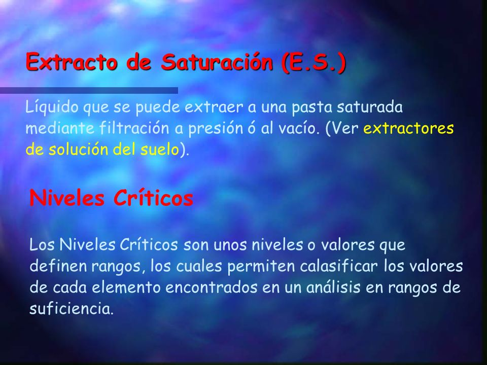 Extracto de Saturación (E.S.)