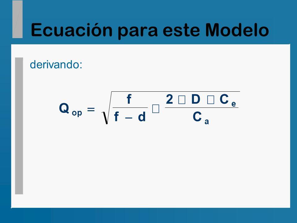 Ecuación para este Modelo
