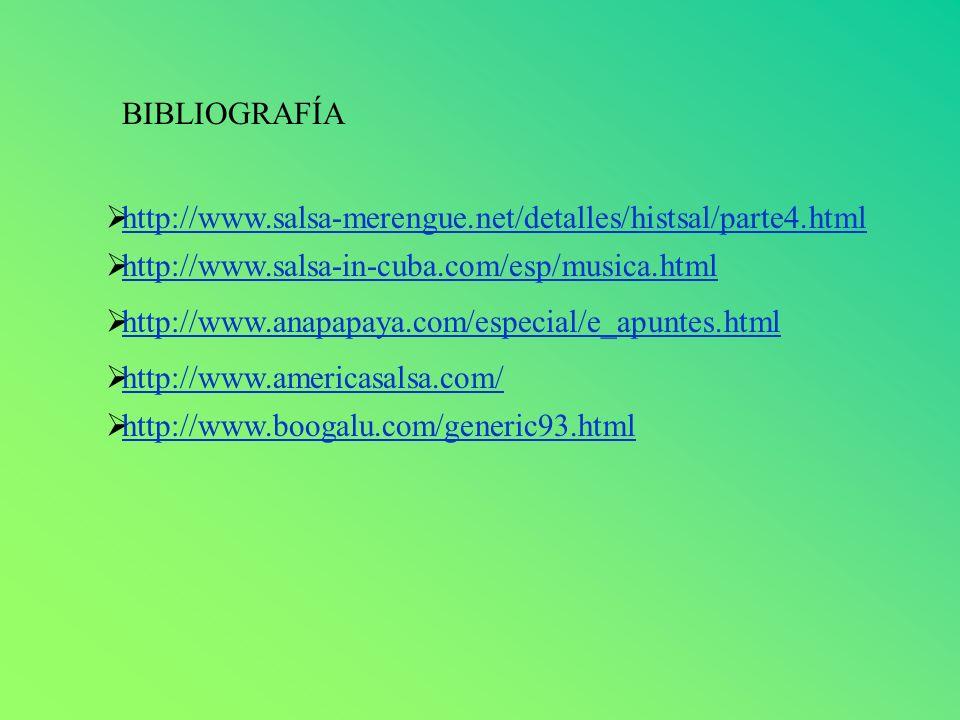 BIBLIOGRAFÍA http://www.salsa-merengue.net/detalles/histsal/parte4.html. http://www.salsa-in-cuba.com/esp/musica.html.