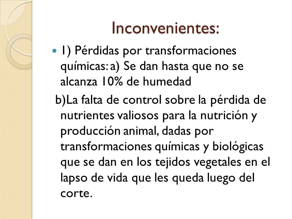 Inconvenientes: 1) Pérdidas por transformaciones químicas: a) Se dan hasta que no se alcanza 10% de humedad.