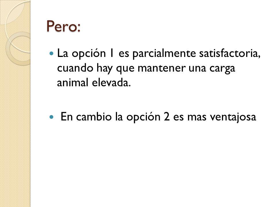 Pero:La opción 1 es parcialmente satisfactoria, cuando hay que mantener una carga animal elevada.