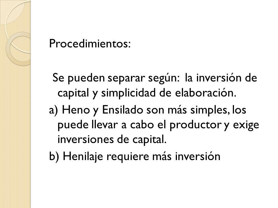 Procedimientos: Se pueden separar según: la inversión de capital y simplicidad de elaboración.