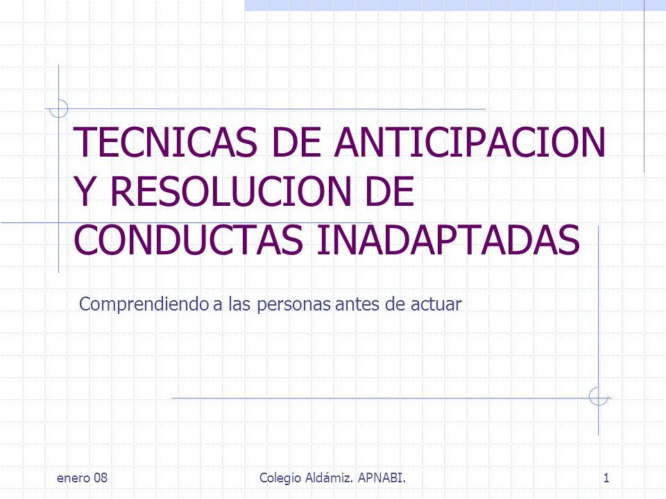 TECNICAS DE ANTICIPACION Y RESOLUCION DE CONDUCTAS INADAPTADAS