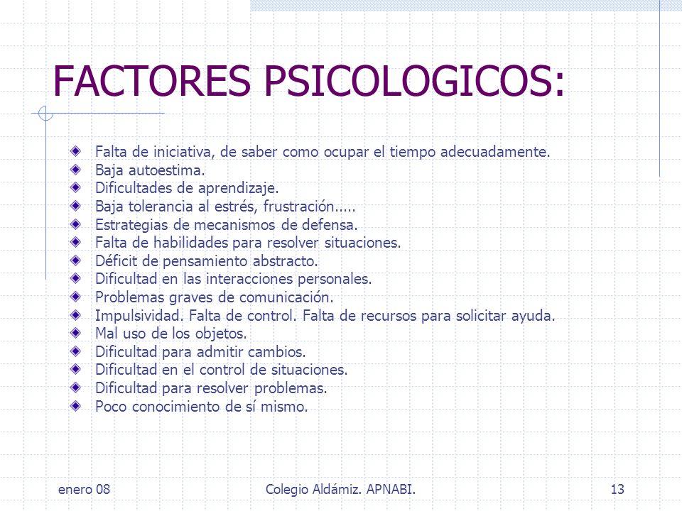 FACTORES PSICOLOGICOS: