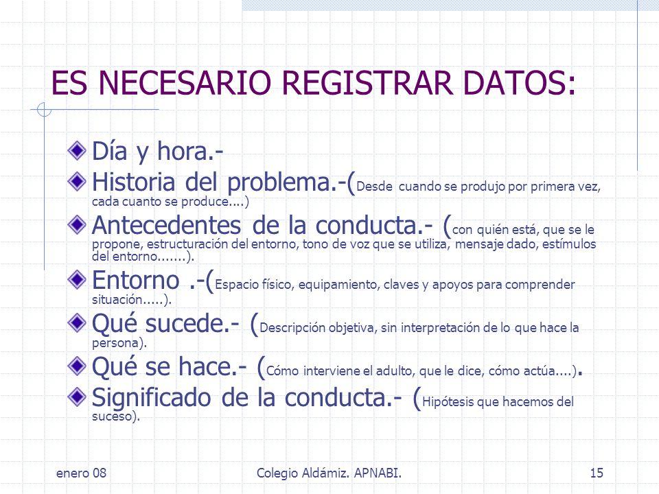ES NECESARIO REGISTRAR DATOS: