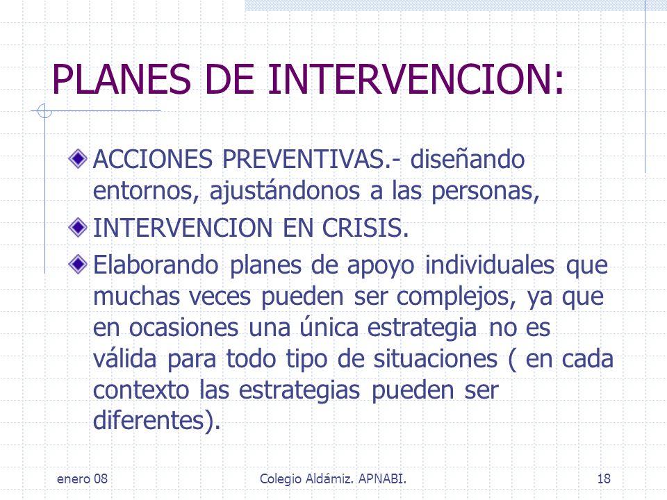 PLANES DE INTERVENCION:
