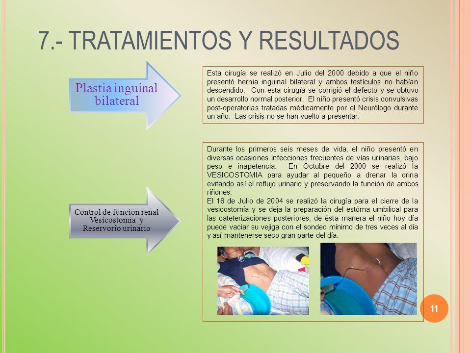 7.- TRATAMIENTOS Y RESULTADOS