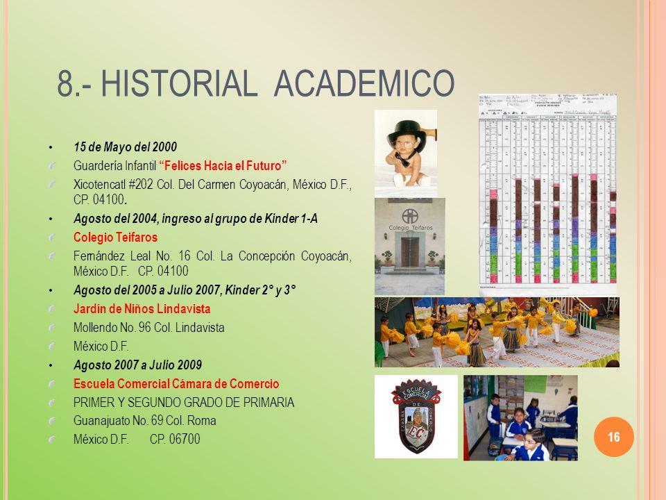 8.- HISTORIAL ACADEMICO 15 de Mayo del 2000