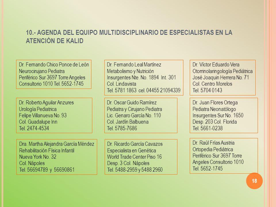10.- AGENDA DEL EQUIPO MULTIDISCIPLINARIO DE ESPECIALISTAS EN LA ATENCIÓN DE KALID