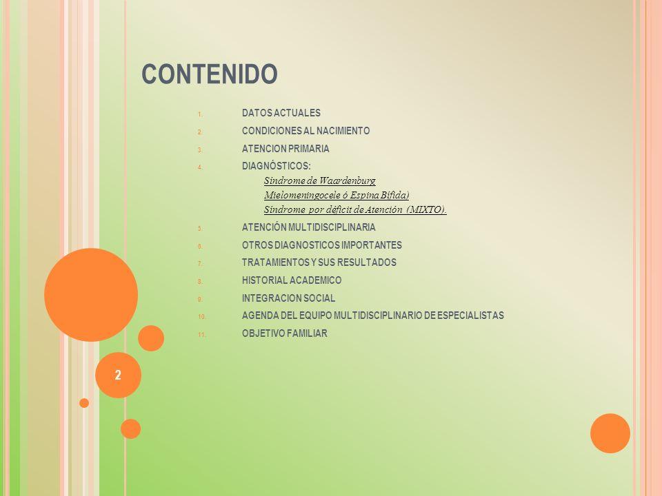 CONTENIDO DATOS ACTUALES CONDICIONES AL NACIMIENTO ATENCION PRIMARIA