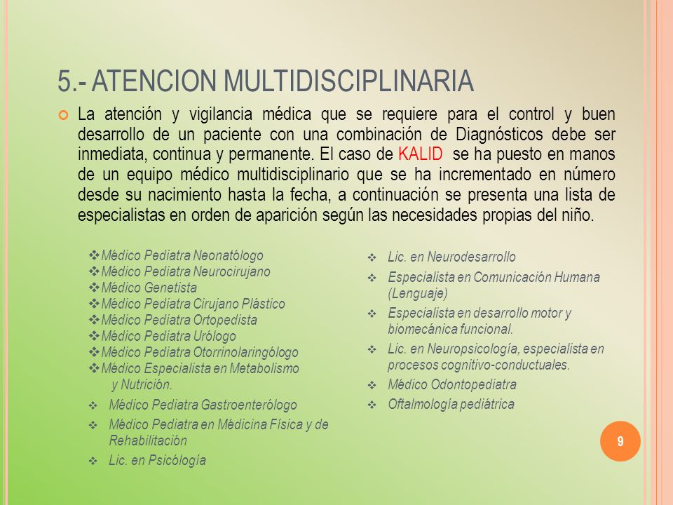 5.- ATENCION MULTIDISCIPLINARIA