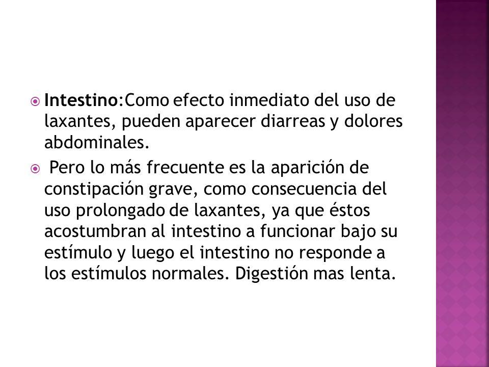 Intestino:Como efecto inmediato del uso de laxantes, pueden aparecer diarreas y dolores abdominales.