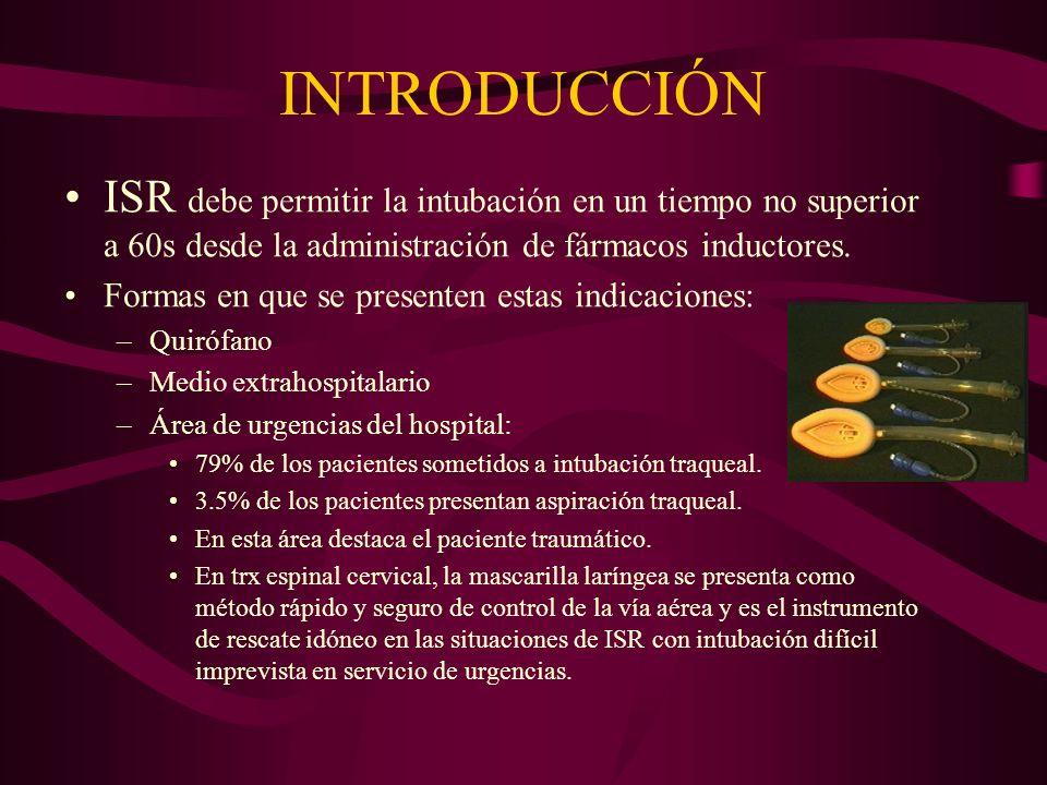 INTRODUCCIÓNISR debe permitir la intubación en un tiempo no superior a 60s desde la administración de fármacos inductores.
