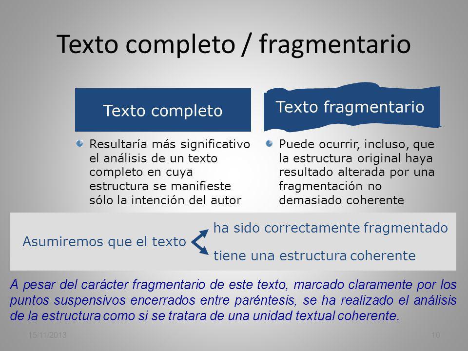 Texto completo / fragmentario