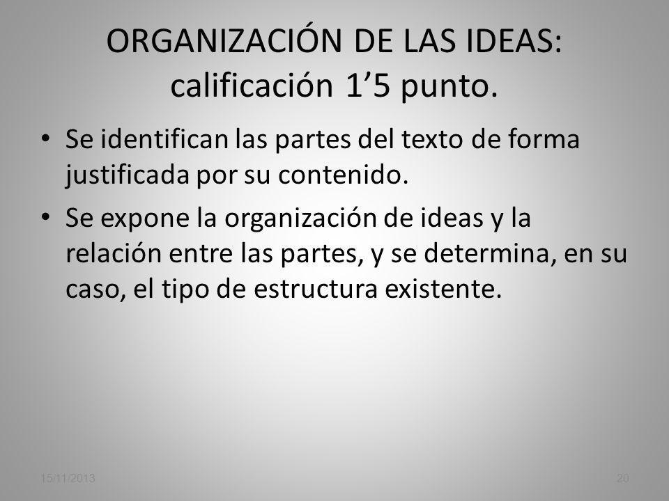 ORGANIZACIÓN DE LAS IDEAS: calificación 1'5 punto.