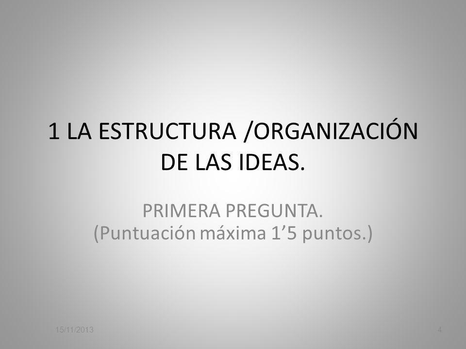 1 LA ESTRUCTURA /ORGANIZACIÓN DE LAS IDEAS.