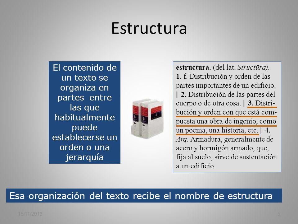 Estructura Esa organización del texto recibe el nombre de estructura