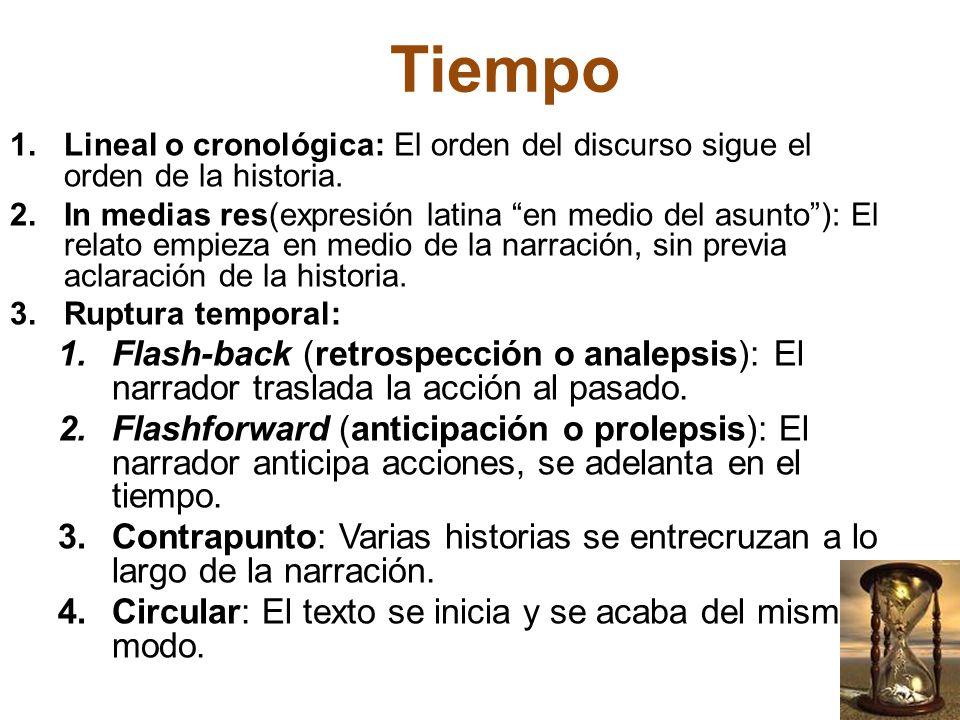 TiempoLineal o cronológica: El orden del discurso sigue el orden de la historia.