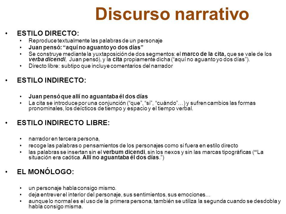 Discurso narrativo ESTILO DIRECTO: ESTILO INDIRECTO: