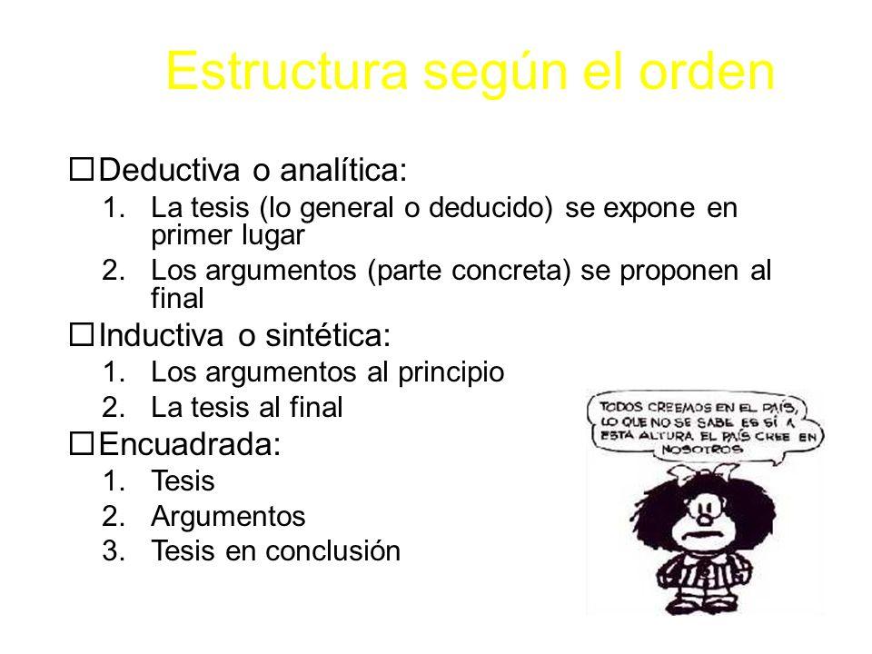 Estructura según el orden