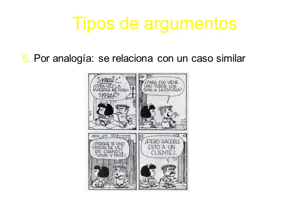 Tipos de argumentos 5. Por analogía: se relaciona con un caso similar