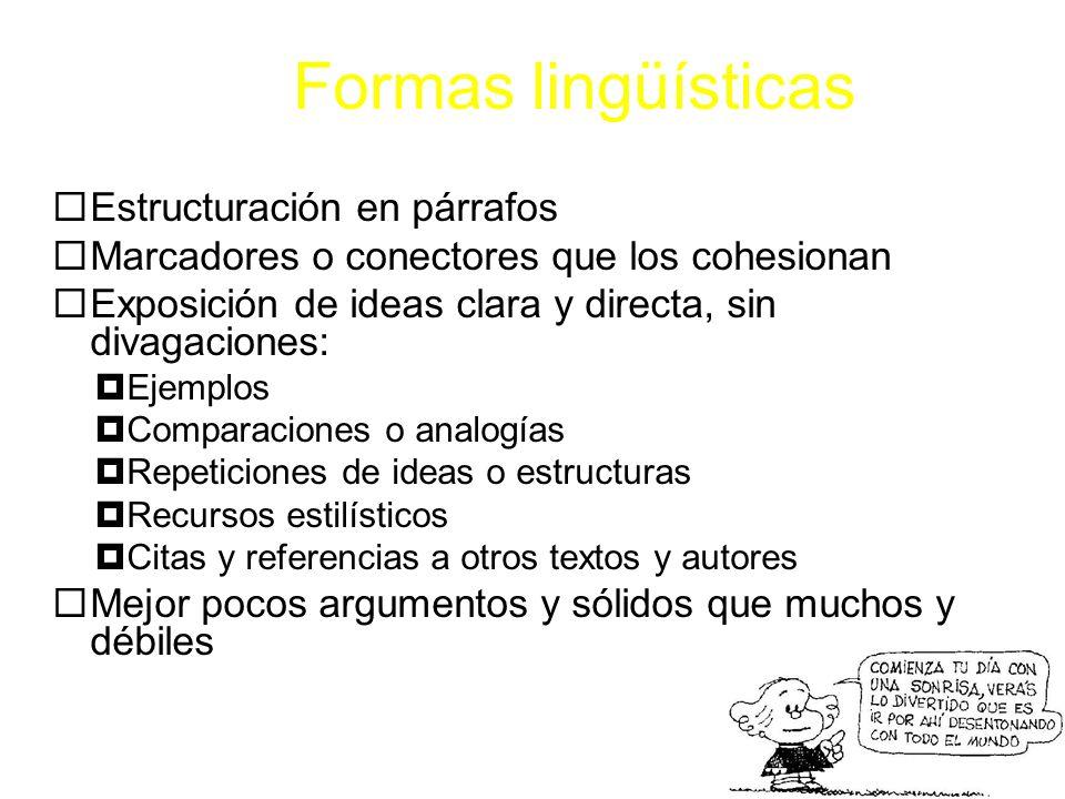 Formas lingüísticas Estructuración en párrafos