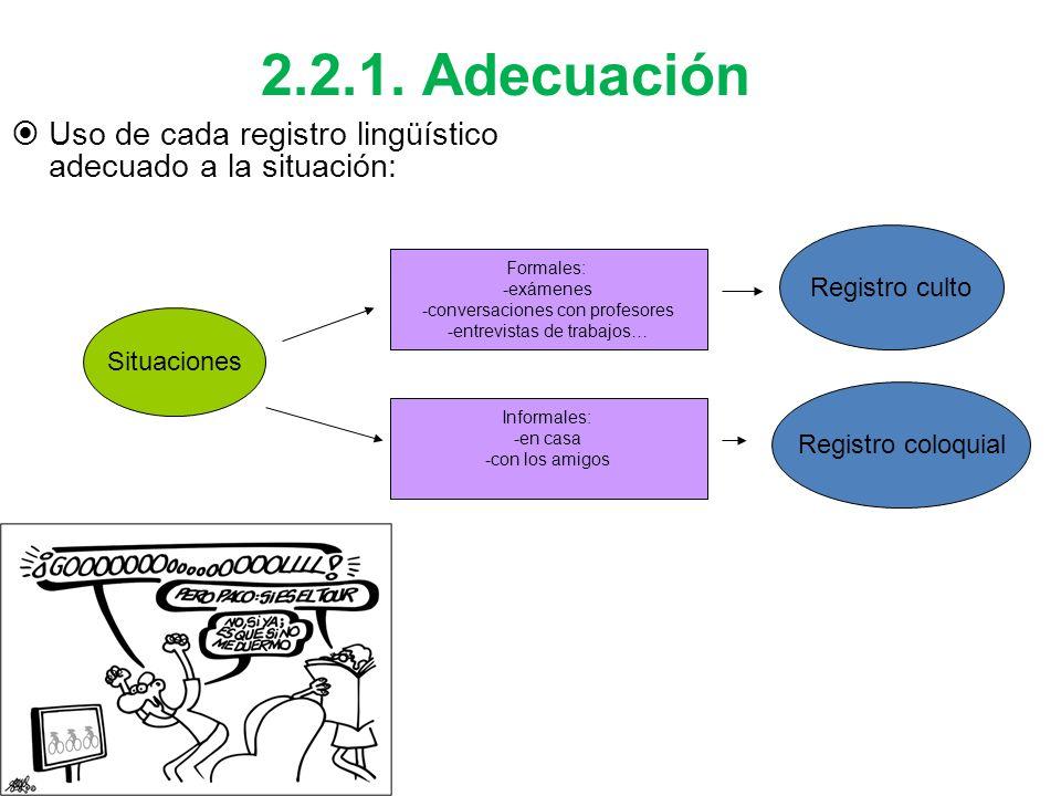 2.2.1. AdecuaciónUso de cada registro lingüístico adecuado a la situación: Registro culto. Formales: