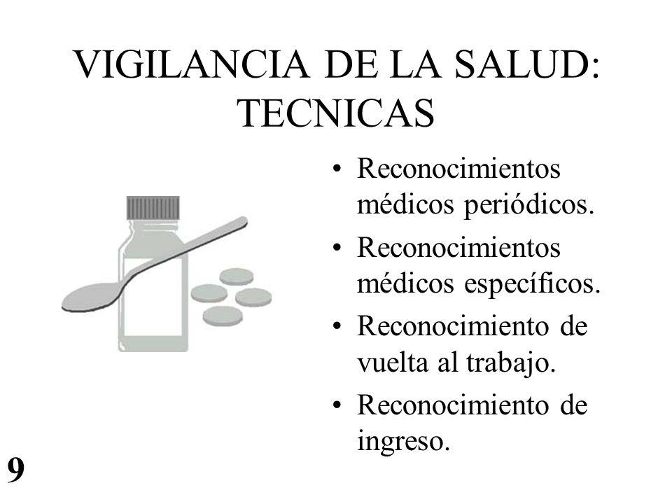 VIGILANCIA DE LA SALUD: TECNICAS