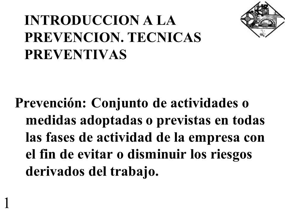 INTRODUCCION A LA PREVENCION. TECNICAS PREVENTIVAS