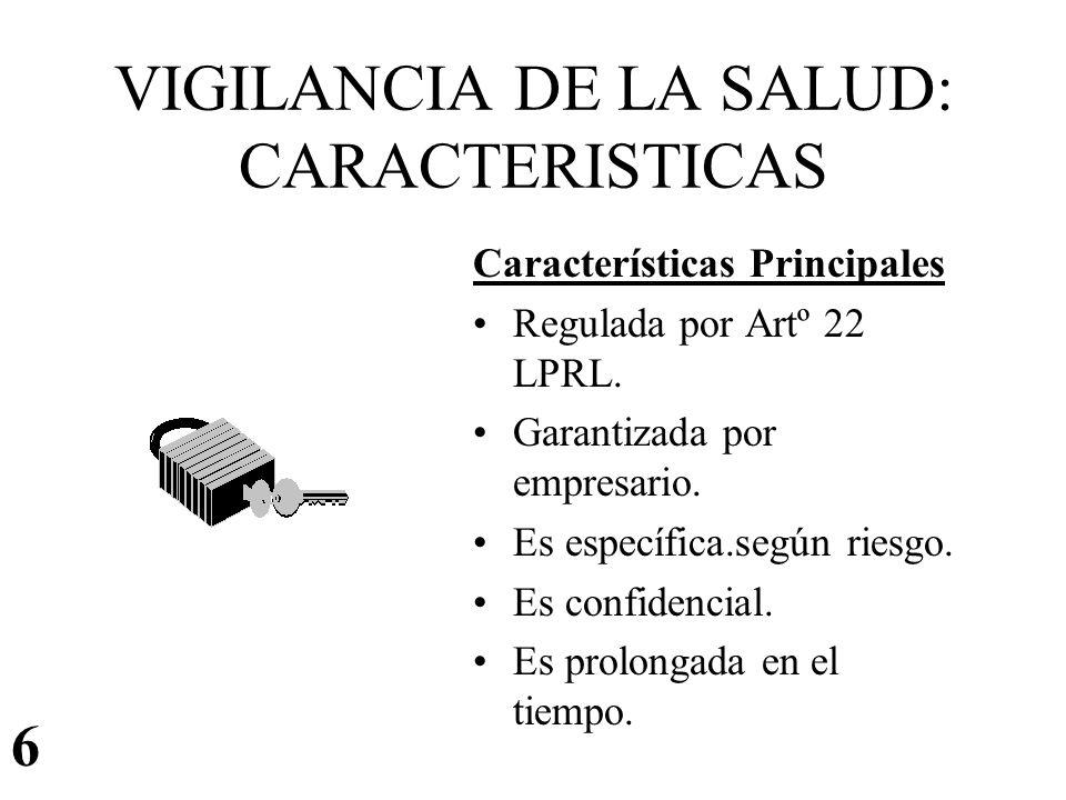VIGILANCIA DE LA SALUD: CARACTERISTICAS