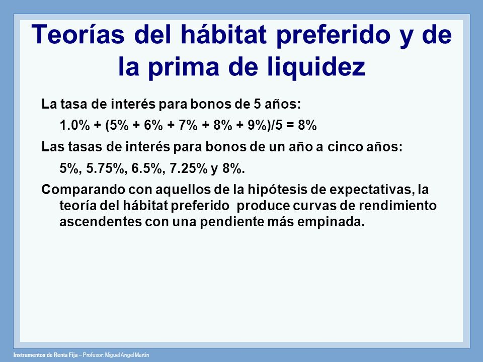 Teorías del hábitat preferido y de la prima de liquidez