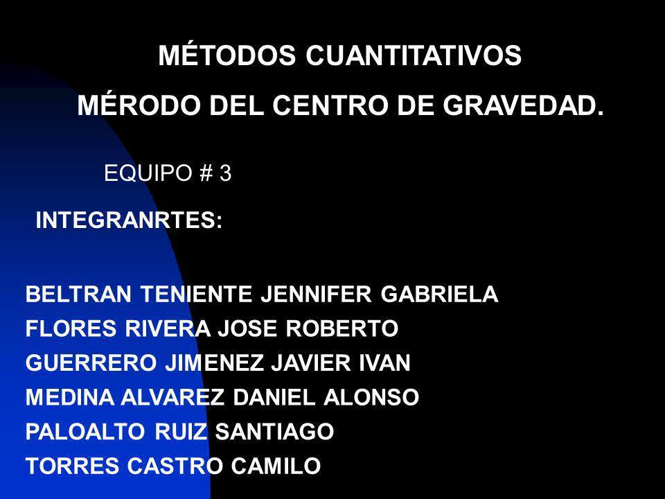 MÉTODOS CUANTITATIVOS MÉRODO DEL CENTRO DE GRAVEDAD.