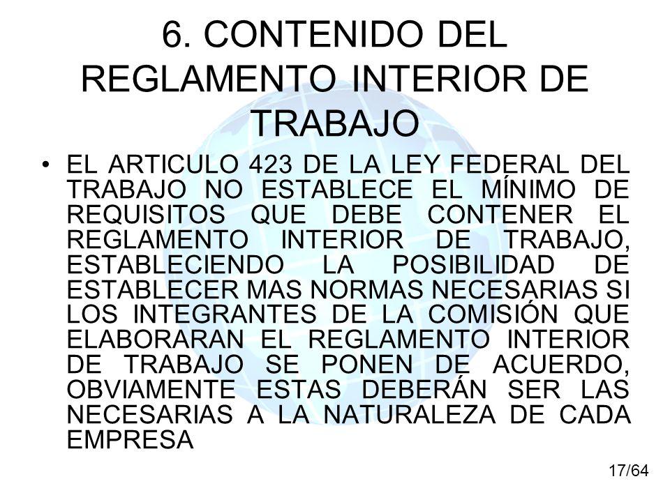 6. CONTENIDO DEL REGLAMENTO INTERIOR DE TRABAJO