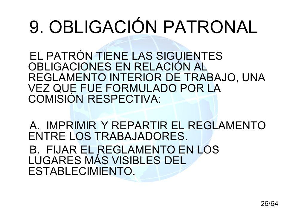 9. OBLIGACIÓN PATRONAL