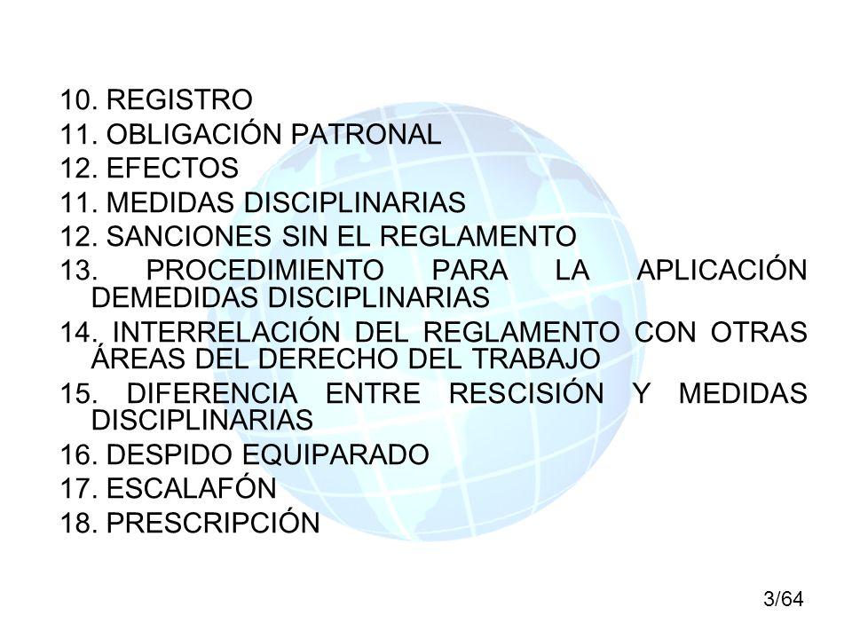11. MEDIDAS DISCIPLINARIAS 12. SANCIONES SIN EL REGLAMENTO