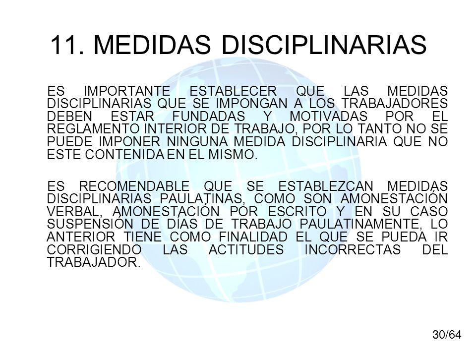 11. MEDIDAS DISCIPLINARIAS