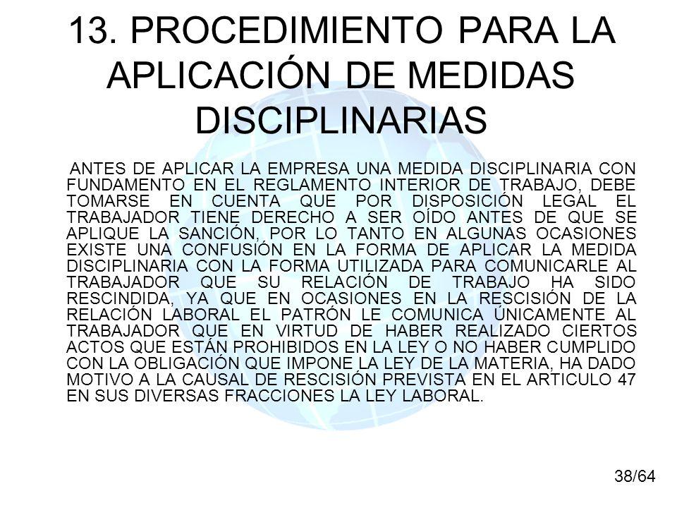 13. PROCEDIMIENTO PARA LA APLICACIÓN DE MEDIDAS DISCIPLINARIAS