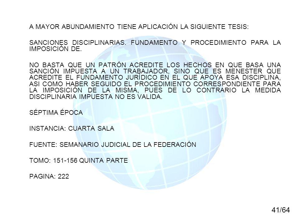 41/64 A MAYOR ABUNDAMIENTO TIENE APLICACIÓN LA SIGUIENTE TESIS: