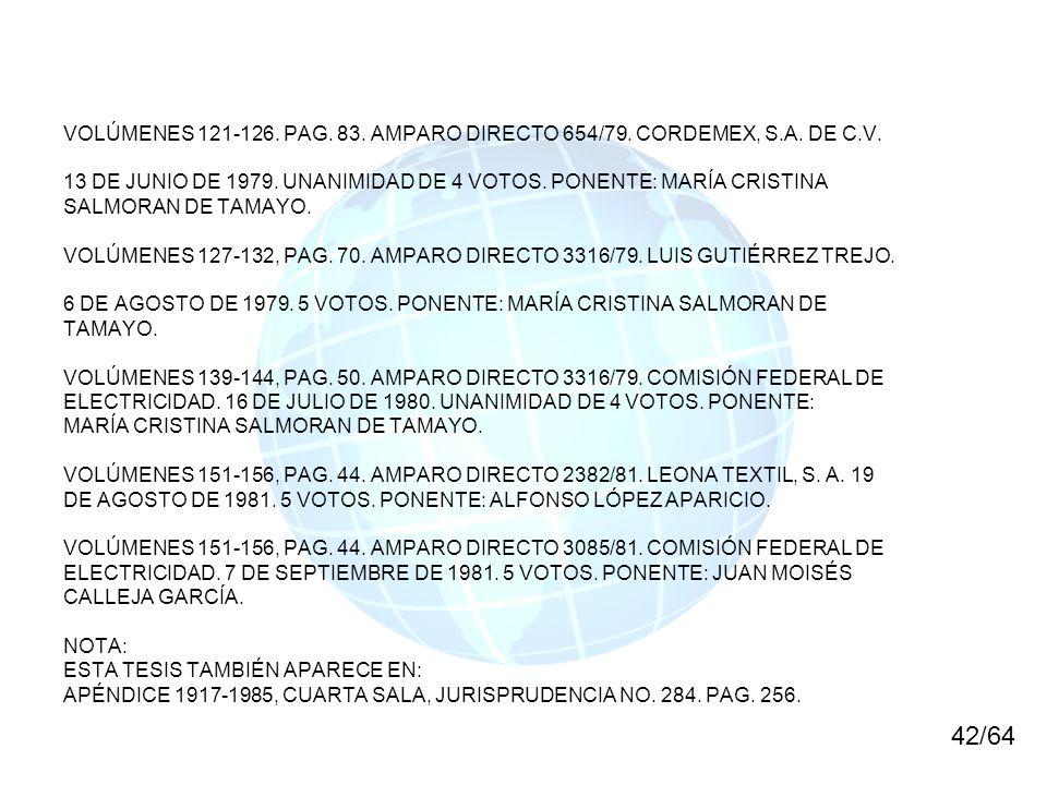 VOLÚMENES 121-126. PAG. 83. AMPARO DIRECTO 654/79. CORDEMEX, S.A. DE C.V.