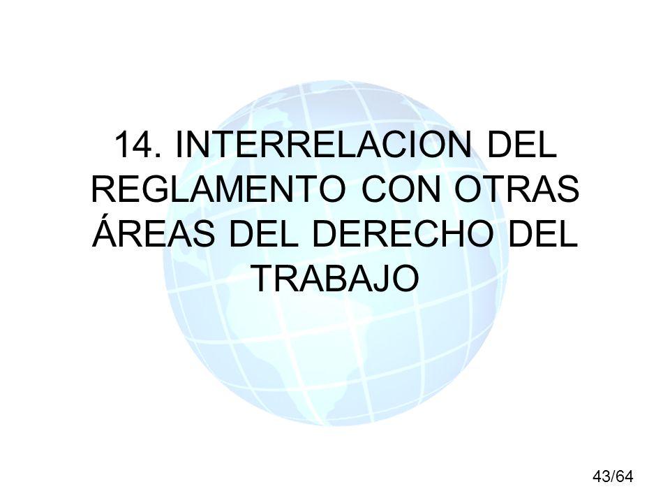 14. INTERRELACION DEL REGLAMENTO CON OTRAS ÁREAS DEL DERECHO DEL TRABAJO