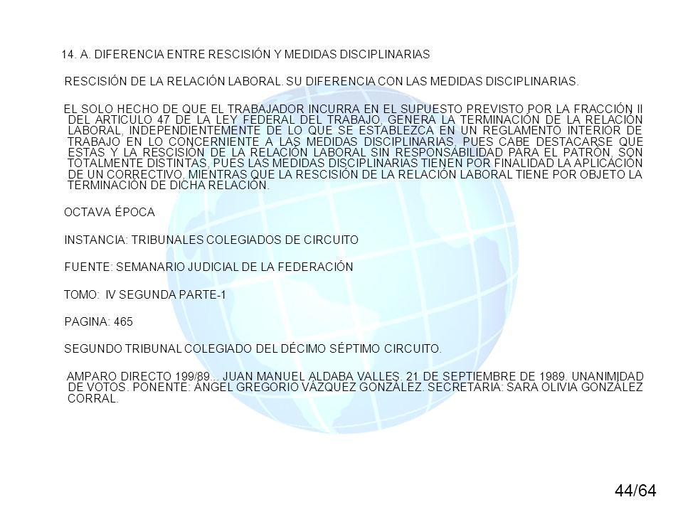 44/64 14. A. DIFERENCIA ENTRE RESCISIÓN Y MEDIDAS DISCIPLINARIAS
