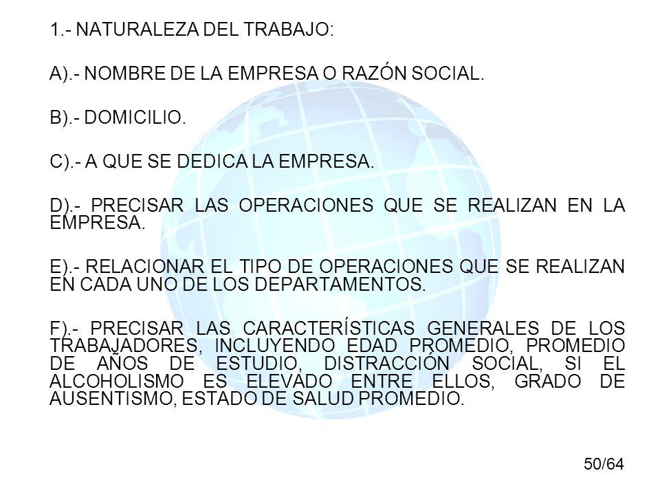 1.- NATURALEZA DEL TRABAJO: A).- NOMBRE DE LA EMPRESA O RAZÓN SOCIAL.