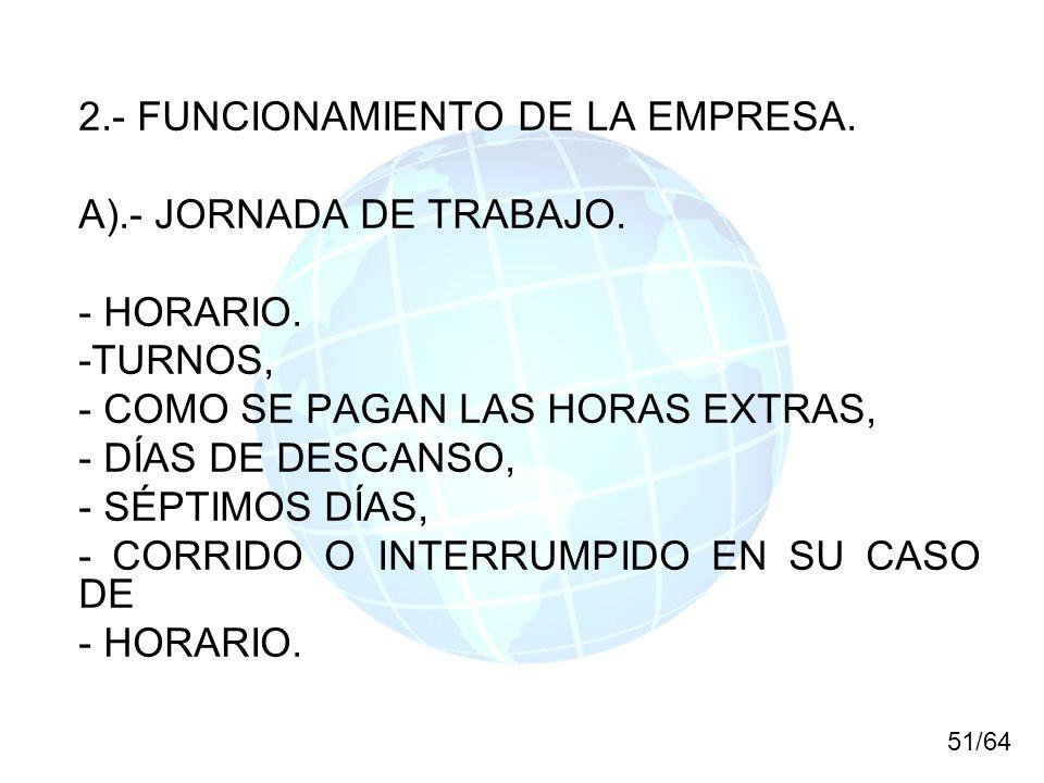 2.- FUNCIONAMIENTO DE LA EMPRESA. A).- JORNADA DE TRABAJO. - HORARIO.